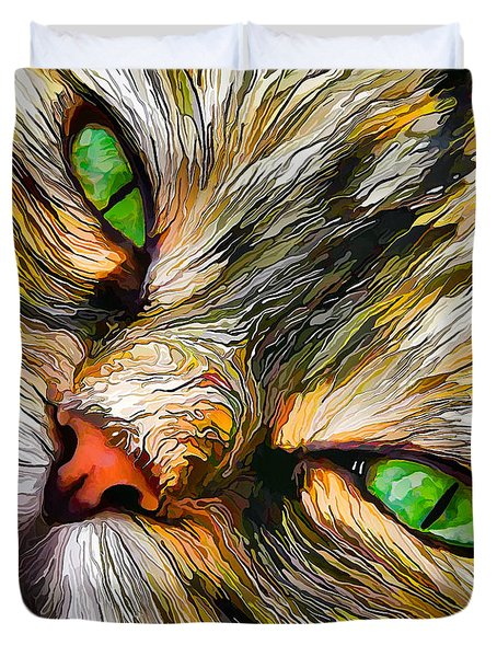 Green-eyed Tortie Duvet Cover