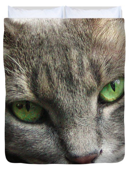 Duvet Cover featuring the photograph Green Eyes by Leigh Anne Meeks
