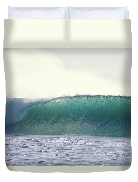 Green Feather Duvet Cover by Sean Davey