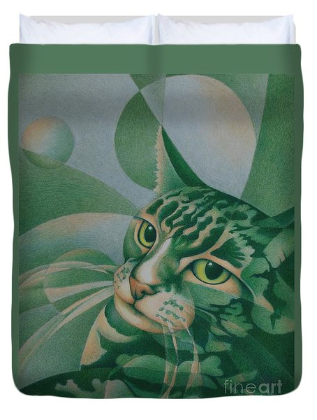 Green Feline Geometry Duvet Cover