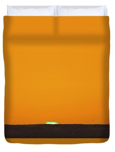 Green Flash Bird Pile Duvet Cover by Sean Davey