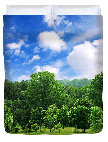 Green Forest Duvet Cover by Elena Elisseeva