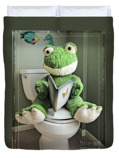 Green Frog Potty Training - Photo Art Duvet Cover
