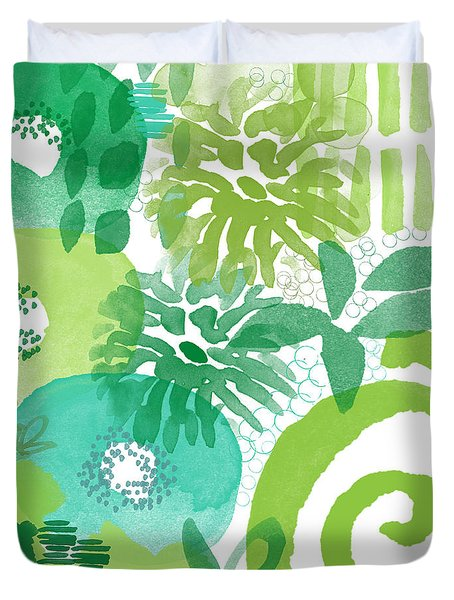 Green Garden- Abstract Watercolor Painting Duvet Cover