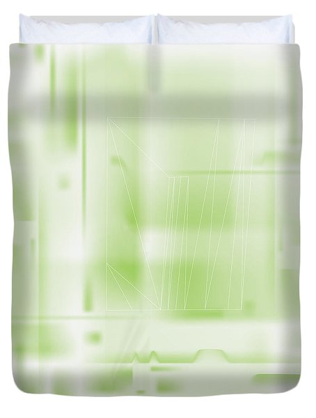 Duvet Cover featuring the digital art Green Ghost City by Kevin McLaughlin