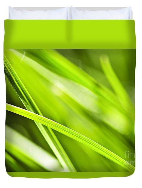 Green Grass Abstract Duvet Cover