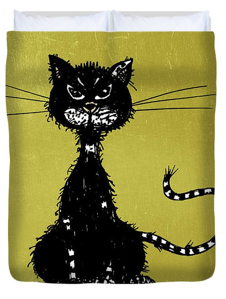 Green Grunge Evil Black Cat Duvet Cover