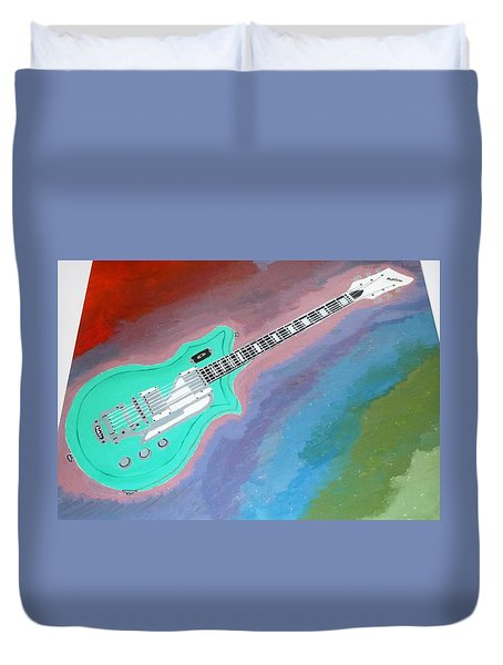 Duvet Cover featuring the painting Green Guitar by Magdalena Frohnsdorff