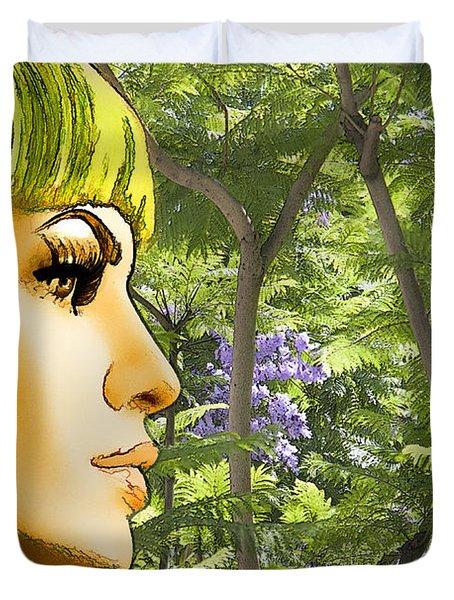 Green Hair And Jacaranda  Duvet Cover