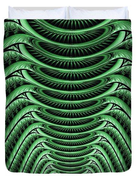 Duvet Cover featuring the digital art Green Hall by Anastasiya Malakhova
