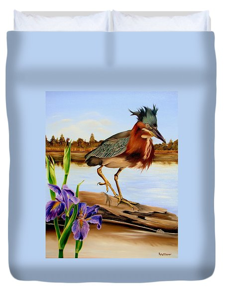 Duvet Cover featuring the painting Green Heron Dance by Phyllis Beiser