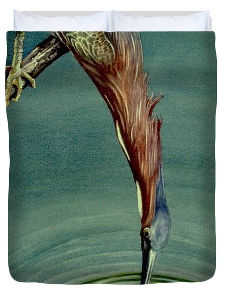 Green Heron Duvet Cover