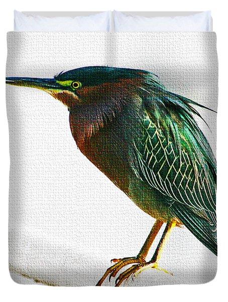 Green Heron In Scottsdale Duvet Cover