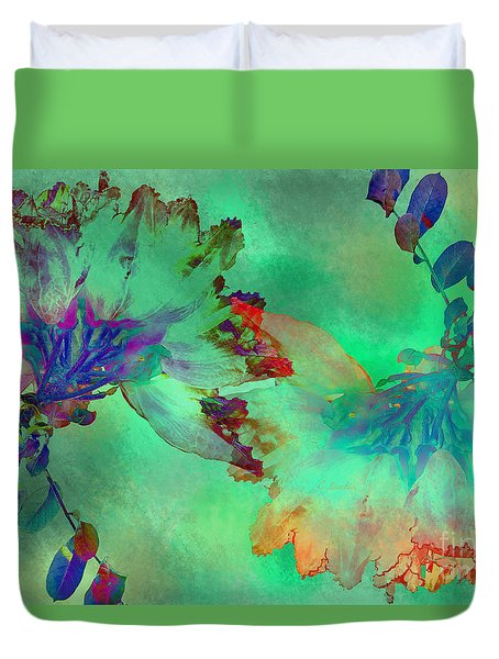 Green Hibiscus Mural Wall Duvet Cover