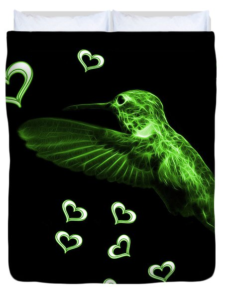 Green Hummingbird - 2055 F Duvet Cover