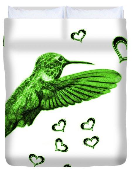 Duvet Cover featuring the digital art Green Hummingbird - 2055 F S M by James Ahn