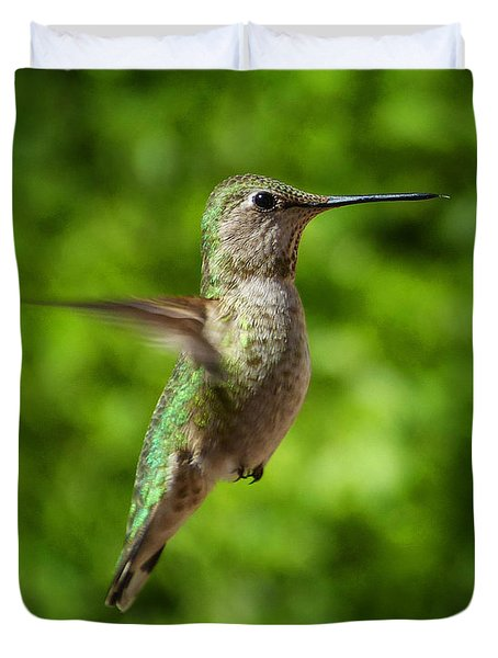 Green Hummingbird Duvet Cover