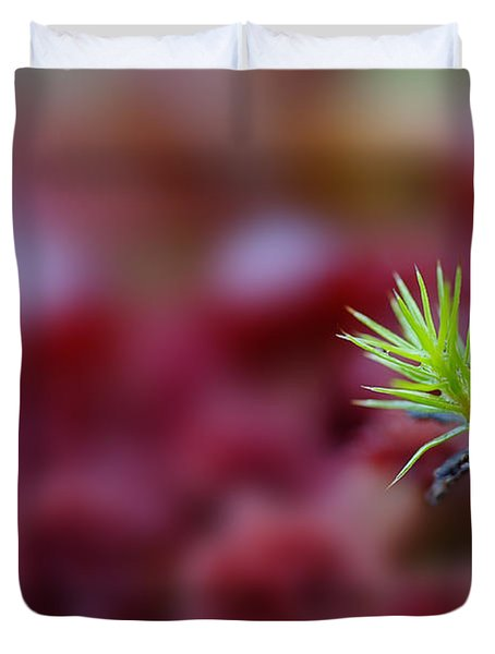 Green In A Sea Of Red Duvet Cover by Dan Friend