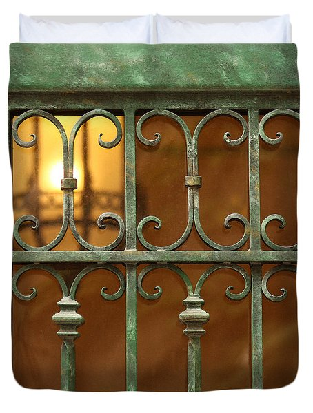 Duvet Cover featuring the photograph Green Iron Gate by Art Block Collections