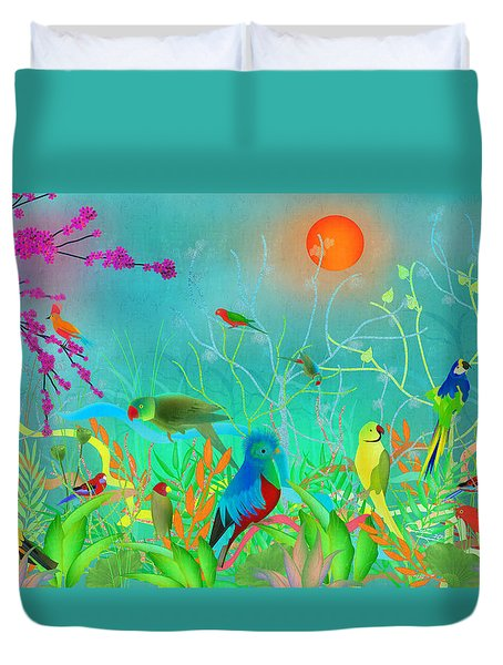Green Landscape With Parrots - Limited Edition Of 15 Duvet Cover