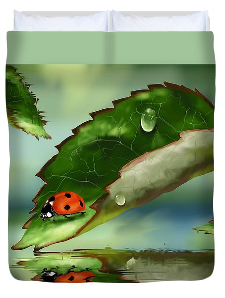 Green Leaf Duvet Cover by Veronica Minozzi