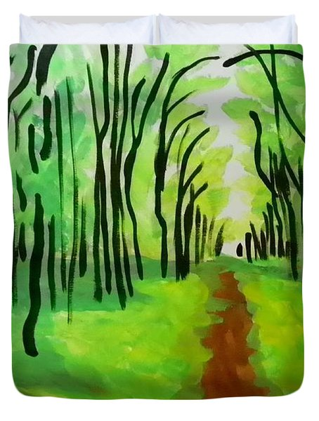 Duvet Cover featuring the painting Green Leaves by Marisela Mungia