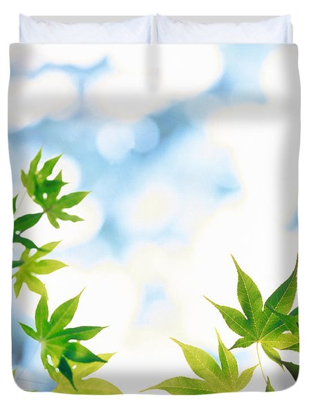 Green Leaves On Mottled Cloudy Sky Duvet Cover
