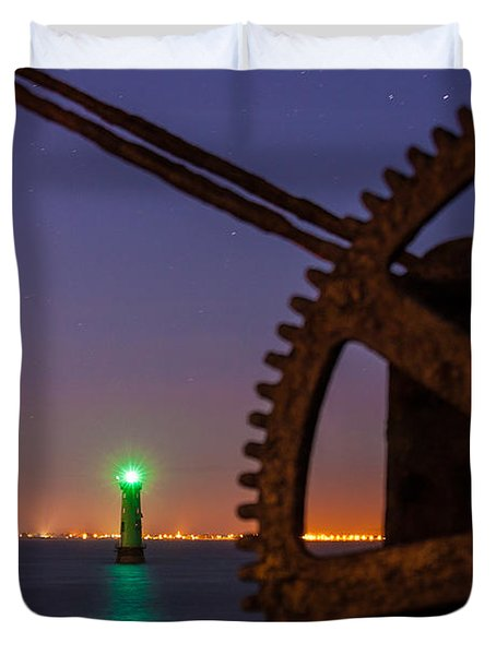Green Lighthouse Duvet Cover by Semmick Photo