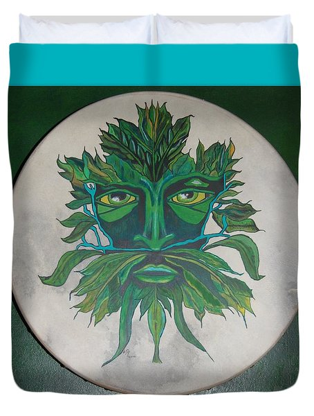 Green Man On Bodhran Duvet Cover