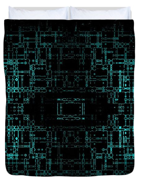 Duvet Cover featuring the digital art Green Network by Anita Lewis