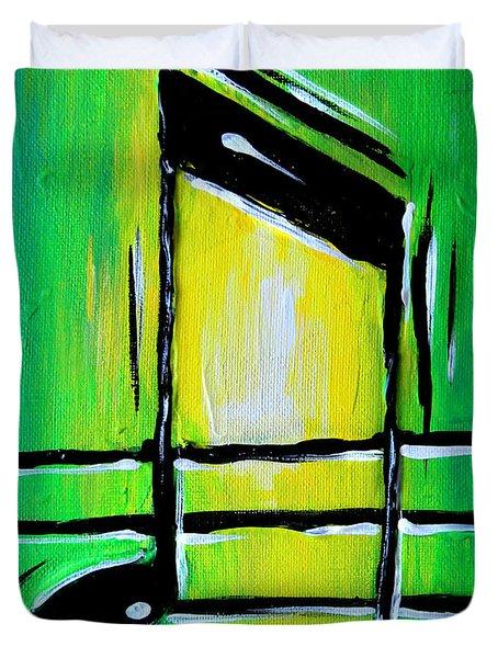 Green Notes Duvet Cover