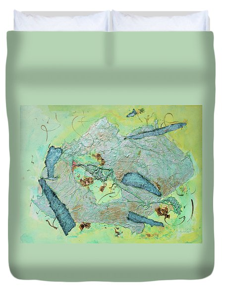 Duvet Cover featuring the painting Green Of The Earth Plane by Asha Carolyn Young
