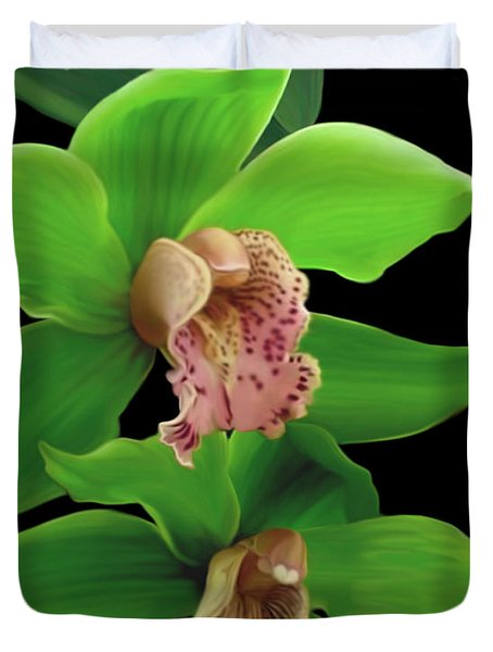 Green Orchids Duvet Cover