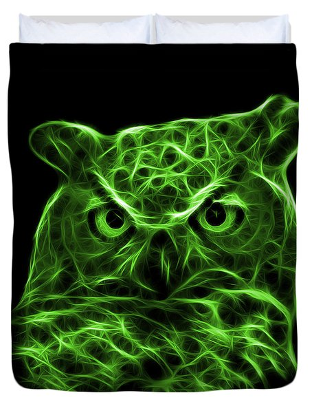 Green Owl 4436 - F M Duvet Cover by James Ahn