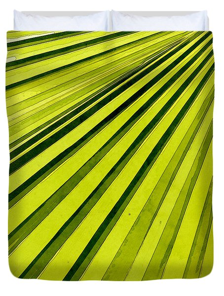 Green Palm Frond Duvet Cover
