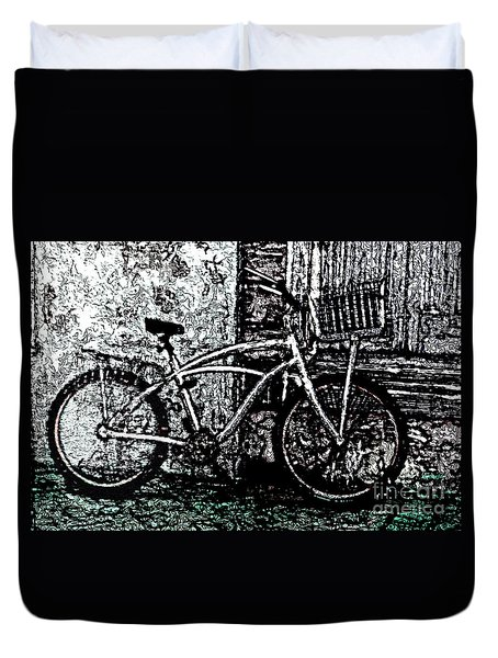 Duvet Cover featuring the painting Green Park Way by Ecinja Art Works
