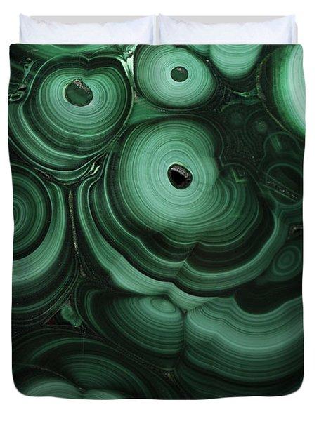 Green Patterns Of Malachite Duvet Cover