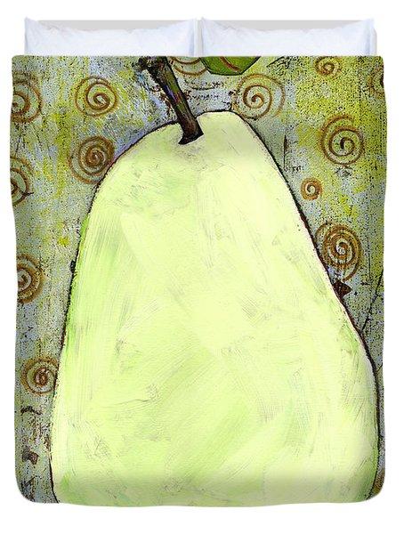 Green Pear Art With Swirls Duvet Cover