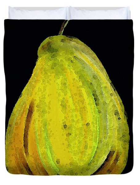 Green Pear - Contemporary Fruit Art Food Print Duvet Cover by Sharon Cummings