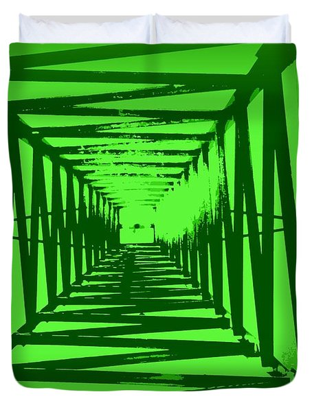 Green Perspective Duvet Cover by Clare Bevan