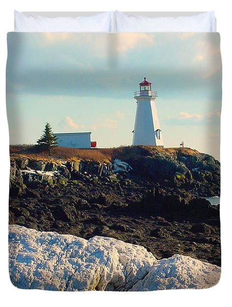 Green Point Light And Quartz Outcrop Duvet Cover