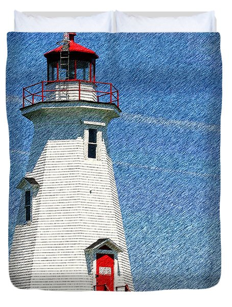 Green Point Light - Color Sketch Duvet Cover