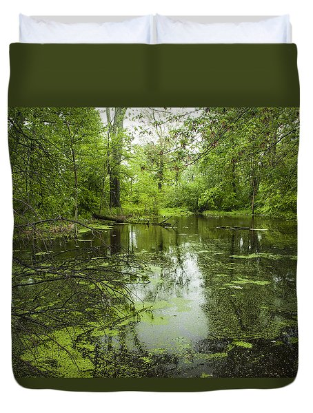 Green Blossoms On Pond Duvet Cover by Jerry Cowart