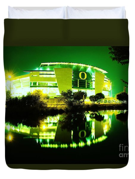 Green Power- Autzen At Night Duvet Cover