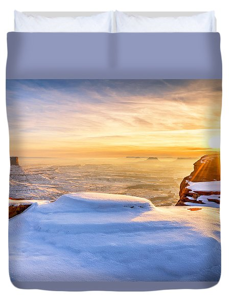 Green River Snow Duvet Cover by Chad Dutson