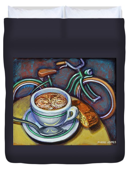 Green Schwinn Bicycle With Cappuccino And Biscotti. Duvet Cover by Mark Jones