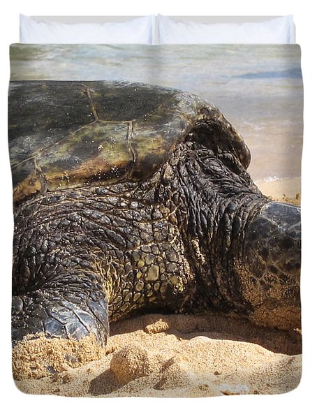 Green Sea Turtle 2 - Kauai Duvet Cover