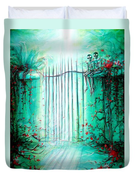 Duvet Cover featuring the painting Green Skeleton Gate by Heather Calderon