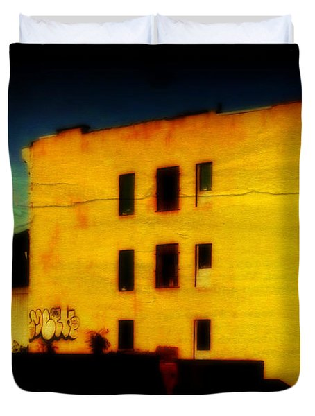Duvet Cover featuring the photograph Green Sky by Miriam Danar