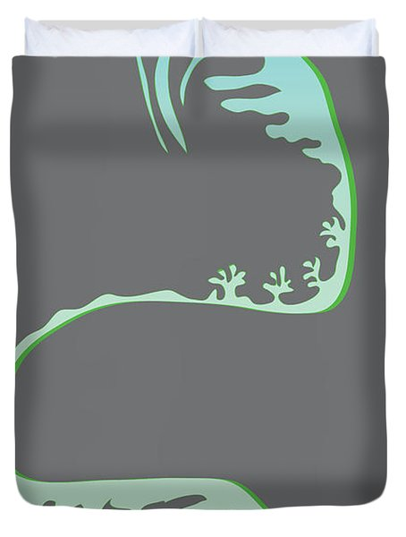 Duvet Cover featuring the digital art Green Spiral Evolution by Kevin McLaughlin